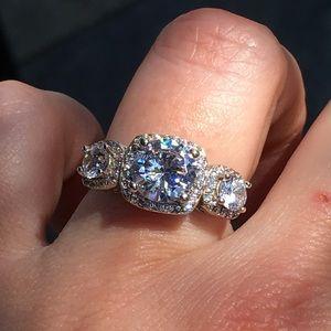 Jewelry - 18k white gold 3 stone diamond wedding bridal ring